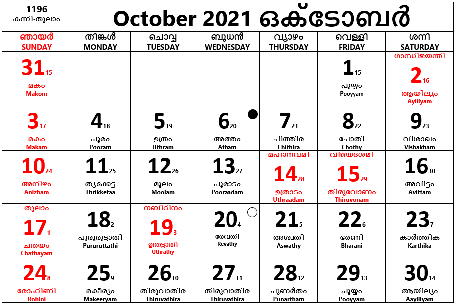 October 2021- October is the tenth month of the year, it has 31 days.