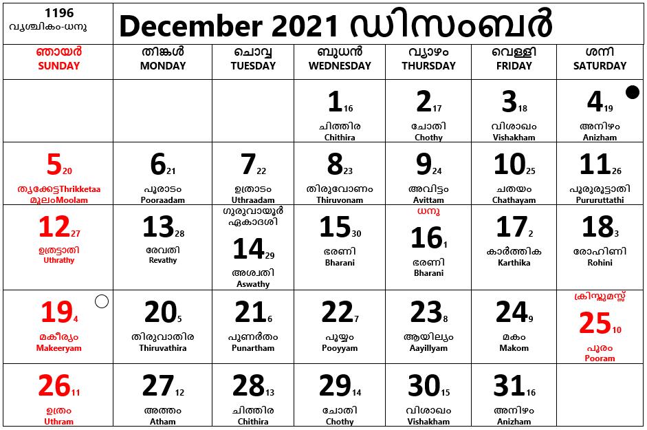 Malayalam Calendar- December 2021