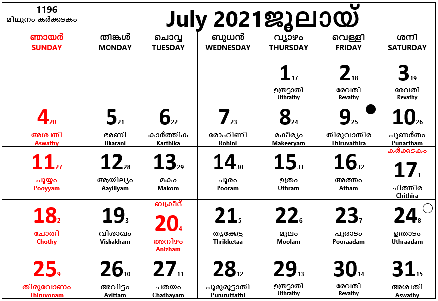 July 2021- July is the seventh month of the year, it has 31 days.